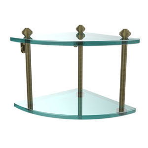 Southbeach Antique Brass Double Corner Glass Shelf