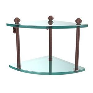 Southbeach Antique Copper Double Corner Glass Shelf