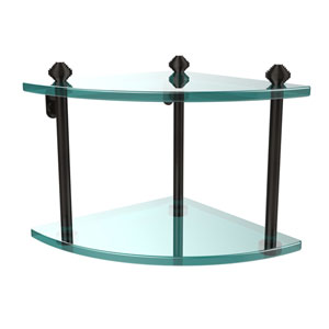 Southbeach Oil Rubbed Bronze Double Corner Glass Shelf