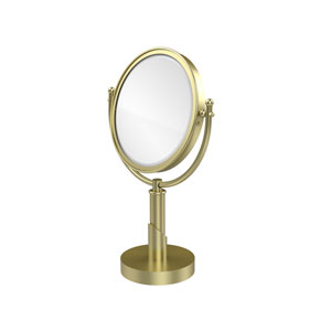 Soho Collection 8 Inch Vanity Top Make-Up Mirror 4X Magnification, Satin Brass