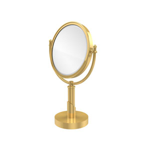 Soho Collection 8 Inch Vanity Top Make-Up Mirror 4X Magnification, Unlacquered Brass