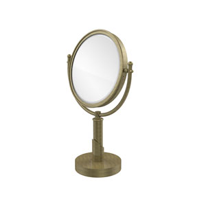 Soho Collection 8 Inch Vanity Top Make-Up Mirror 5X Magnification, Antique Brass