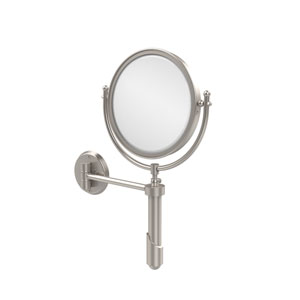 Soho Collection Wall Mounted Make-Up Mirror 8 Inch Diameter with 2X Magnification, Satin Nickel