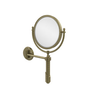 Soho Collection Wall Mounted Make-Up Mirror 8 Inch Diameter with 5X Magnification, Antique Brass