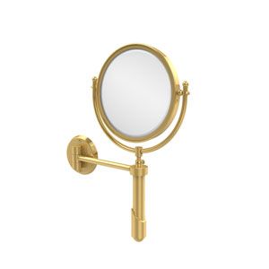 Soho Collection Wall Mounted Make-Up Mirror 8 Inch Diameter with 5X Magnification, Unlacquered Brass