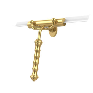 Shower Squeegee with Wavy Handle, Unlacquered Brass