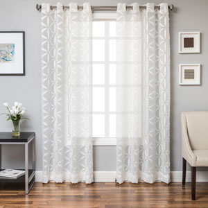Sayer White 84 x 55 In. Modern Laser cut Linen Sheer Panel