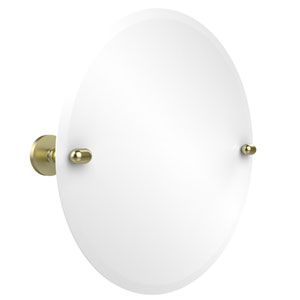 Frameless Round Tilt Mirror with Beveled Edge, Satin Brass