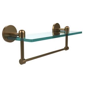 Tango Brushed Bronze 16x5 Glass Shelf w/ Towel Bar