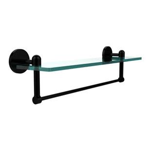 Tango Matte Black 22x5 Glass Shelf w/ Towel Bar
