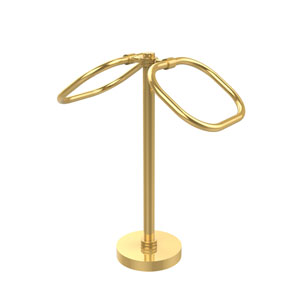 Two Ring Oval Guest Towel Holder, Unlacquered Brass