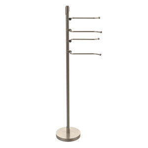 Floor Standing 49 Inch 4 Pivoting Swing Arm Towel Holder, Antique Pewter