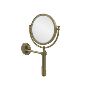 Tribecca Collection Wall Mounted Make-Up Mirror 8 Inch Diameter with 4X Magnification, Antique Brass