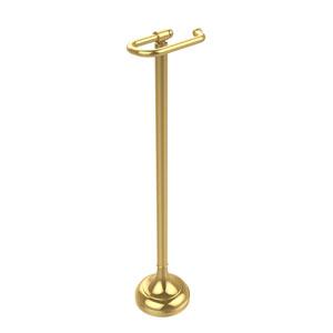 Free Standing European Style Toilet Tissue Holder, Unlacquered Brass