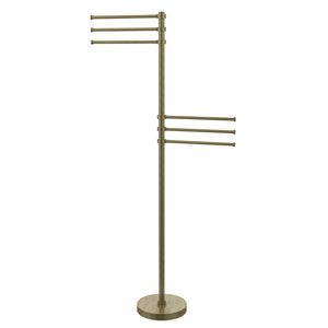 Towel Stand with 6 Pivoting 12 Inch Arms, Antique Brass