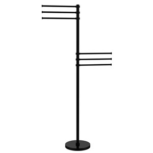 Towel Stand with 6 Pivoting 12 Inch Arms, Matte Black