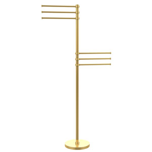 Towel Stand with 6 Pivoting 12 Inch Arms, Unlacquered Brass