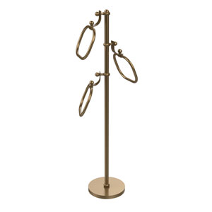Towel Stand with 9 Inch Oval Towel Rings, Brushed Bronze