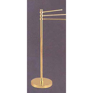 Polished Nickel 39 Inch Towel Stand w/3-12 Inch Arms