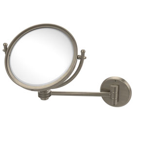 8 Inch Wall Mounted Make-Up Mirror 2X Magnification, Antique Pewter