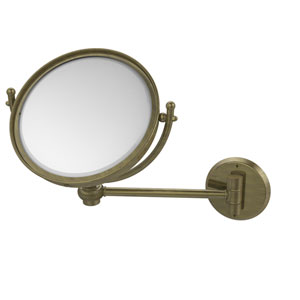 8 Inch Wall Mounted Make-Up Mirror 2X Magnification, Antique Brass