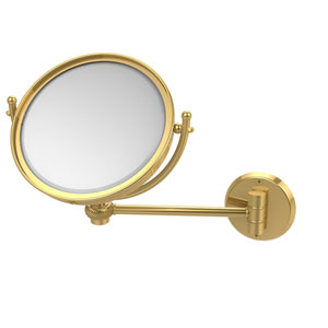 8 Inch Wall Mounted Make-Up Mirror 2X Magnification, Polished Brass