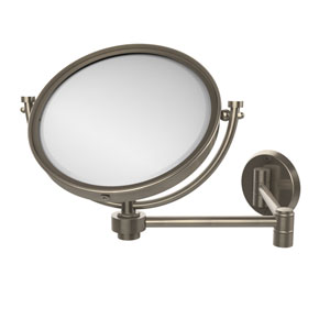 8 Inch Wall Mounted Extending Make-Up Mirror 4X Magnification, Antique Pewter