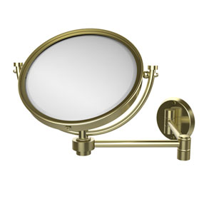 8 Inch Wall Mounted Extending Make-Up Mirror 4X Magnification, Satin Brass