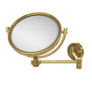 8 Inch Wall Mounted Extending Make-Up Mirror 5X Magnification, Unlacquered Brass