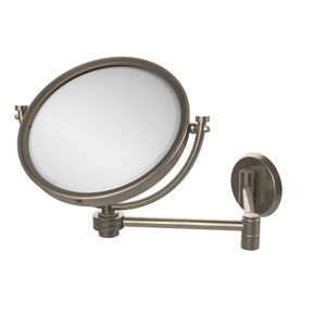 8 Inch Wall Mounted Extending Make-Up Mirror 5X Magnification with Dotted Accent, Antique Pewter