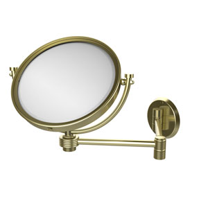 8 Inch Wall Mounted Extending Make-Up Mirror 2X Magnification with Groovy Accent, Satin Brass
