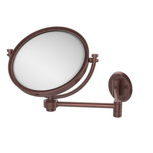 8 Inch Wall Mounted Extending Make-Up Mirror 5X Magnification with Groovy Accent, Antique Copper