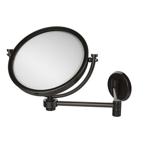 8 Inch Wall Mounted Extending Make-Up Mirror 5X Magnification with Groovy Accent, Oil Rubbed Bronze