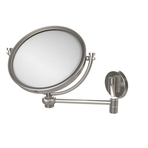 8 Inch Wall Mounted Extending Make-Up Mirror 3X Magnification with Twist Accent, Satin Nickel
