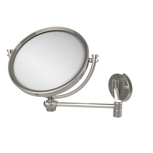 8 Inch Wall Mounted Extending Make-Up Mirror 5X Magnification with Twist Accent, Polished Nickel
