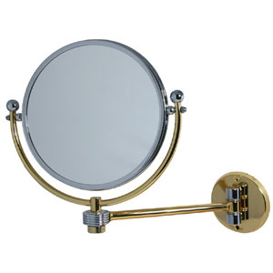 Antique Brass 8 Inch Mirror 4x Magnification Extends 7 Inch