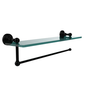 Waverly Place Collection Paper Towel Holder with 16 Inch Glass Shelf, Matte Black