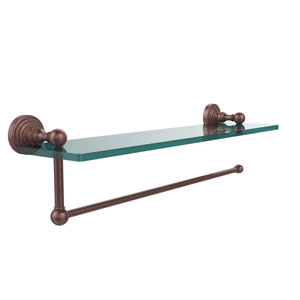 Waverly Place Collection Paper Towel Holder with 16 Inch Glass Shelf, Antique Copper