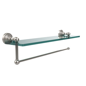 Waverly Place Collection Paper Towel Holder with 22 Inch Glass Shelf, Satin Nickel