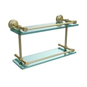 Waverly Place 16 Inch Double Glass Shelf with Gallery Rail, Satin Brass