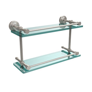 Waverly Place 16 Inch Double Glass Shelf with Gallery Rail, Satin Nickel