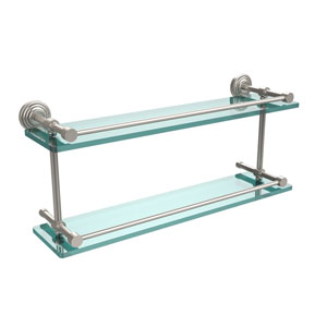 Waverly Place 22 Inch Double Glass Shelf with Gallery Rail, Satin Nickel