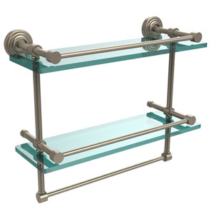 16 Inch Gallery Double Glass Shelf with Towel Bar, Antique Pewter