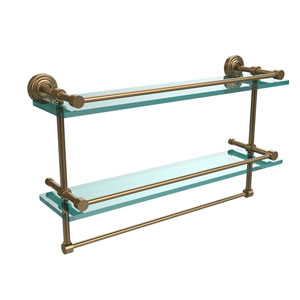 22 Inch Gallery Double Glass Shelf with Towel Bar, Brushed Bronze