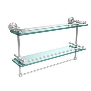 22 Inch Gallery Double Glass Shelf with Towel Bar, Polished Chrome