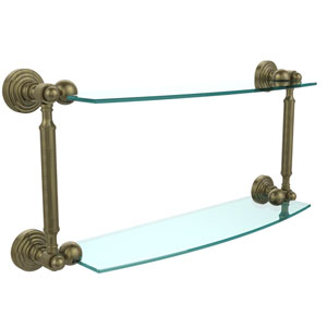 Waverly Place Collection 18 Inch Two Tiered Glass Shelf, Antique Brass