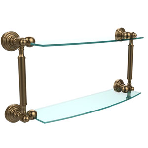 Waverly Place Collection 18 Inch Two Tiered Glass Shelf, Brushed Bronze