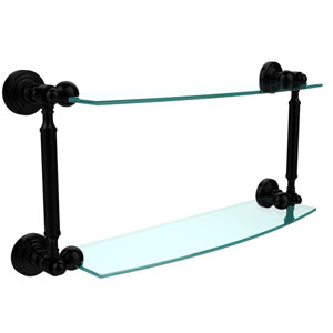 Waverly Place Collection 18 Inch Two Tiered Glass Shelf, Matte Black