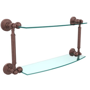 Waverly Place Collection 18 Inch Two Tiered Glass Shelf, Antique Copper