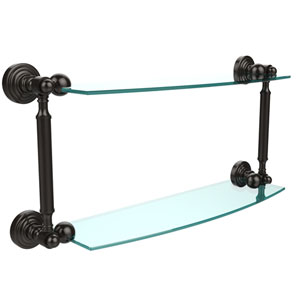 Waverly Place Collection 18 Inch Two Tiered Glass Shelf, Oil Rubbed Bronze